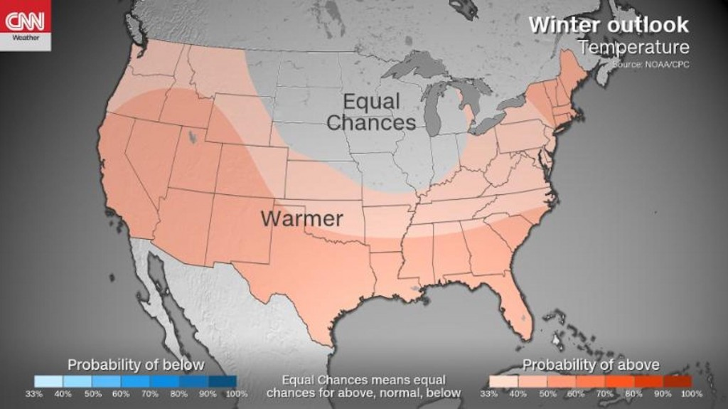 NOAA's 2019 winter forecast shows it will likely be warmer