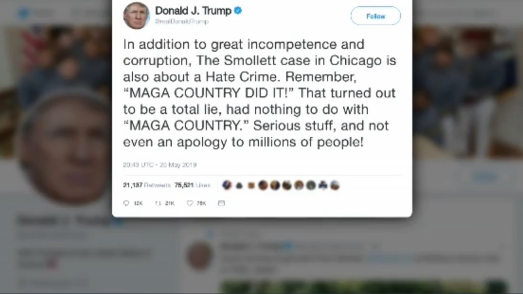 Trump accuses Jussie Smollett of hate crime against his supporters