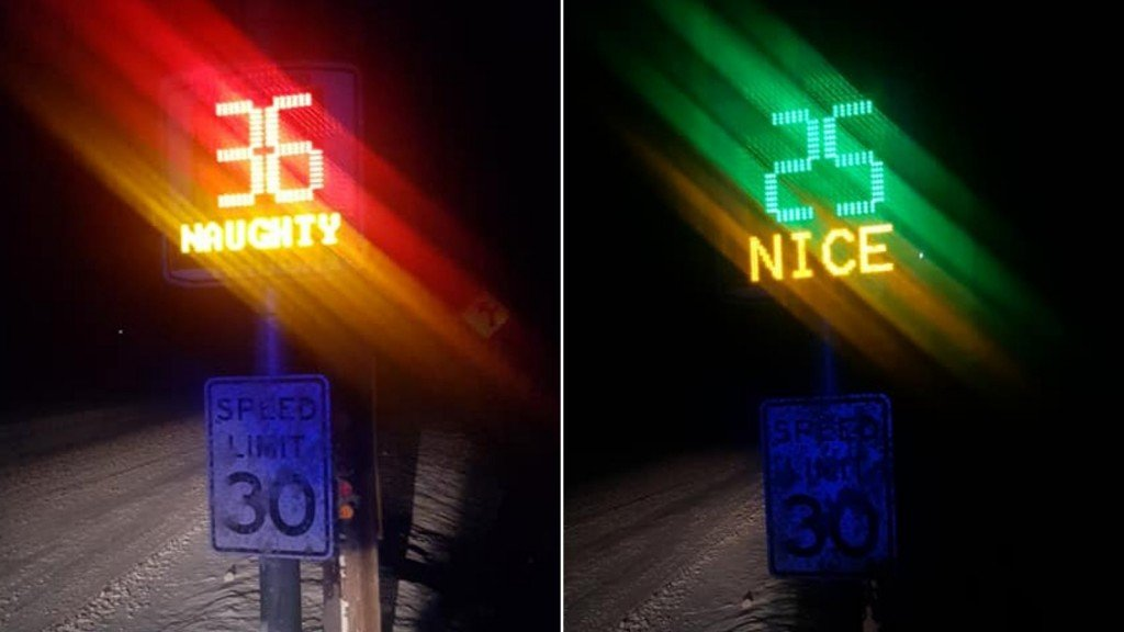 Vermont town's speed signs tell drivers if they're 'naughty' or 'nice'