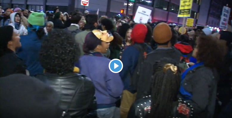 Hundreds march to protest NYPD after subway altercation