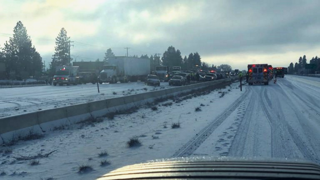 Slick conditions lead to 60 car pileup in Spokane, Wash.