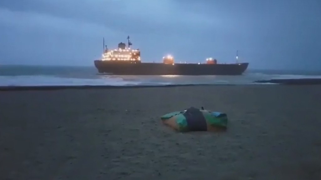 Russian cargo ship is refloated off Cornwall beach in 'horrific' conditions