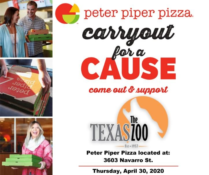 Order from Peter Piper Pizza on Thursday April 30th to support the Texas Zoo
