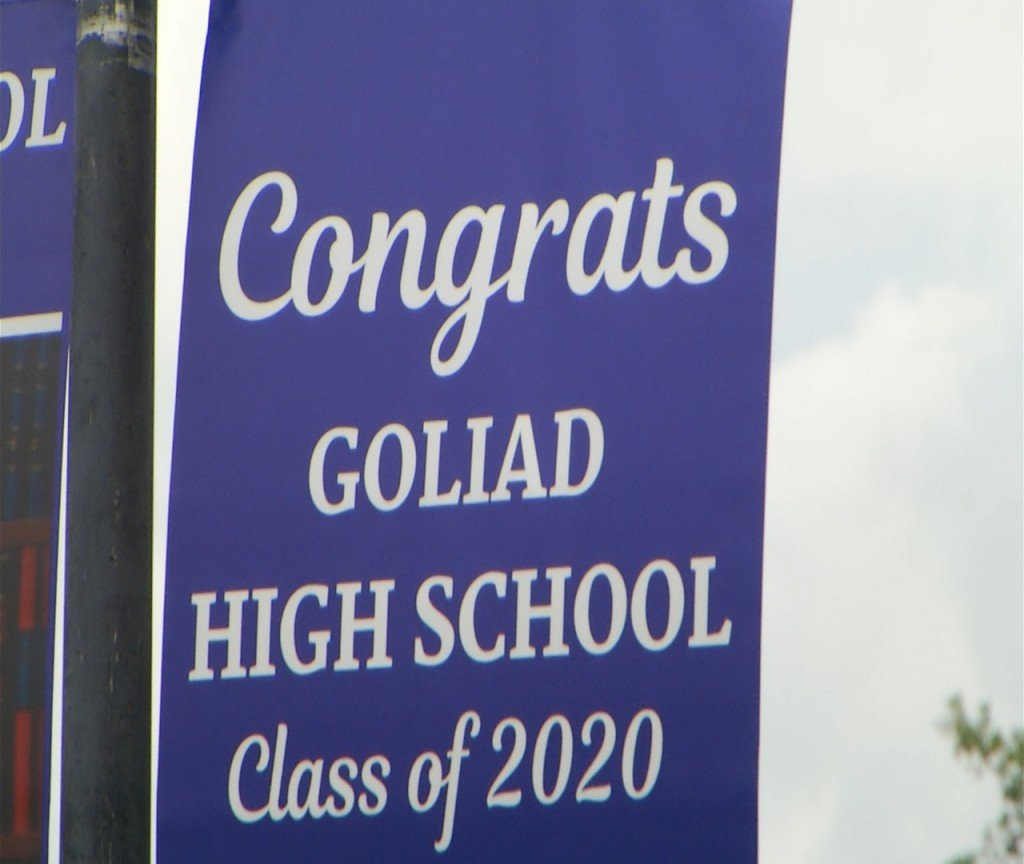 Goliad High School has a drive by parade