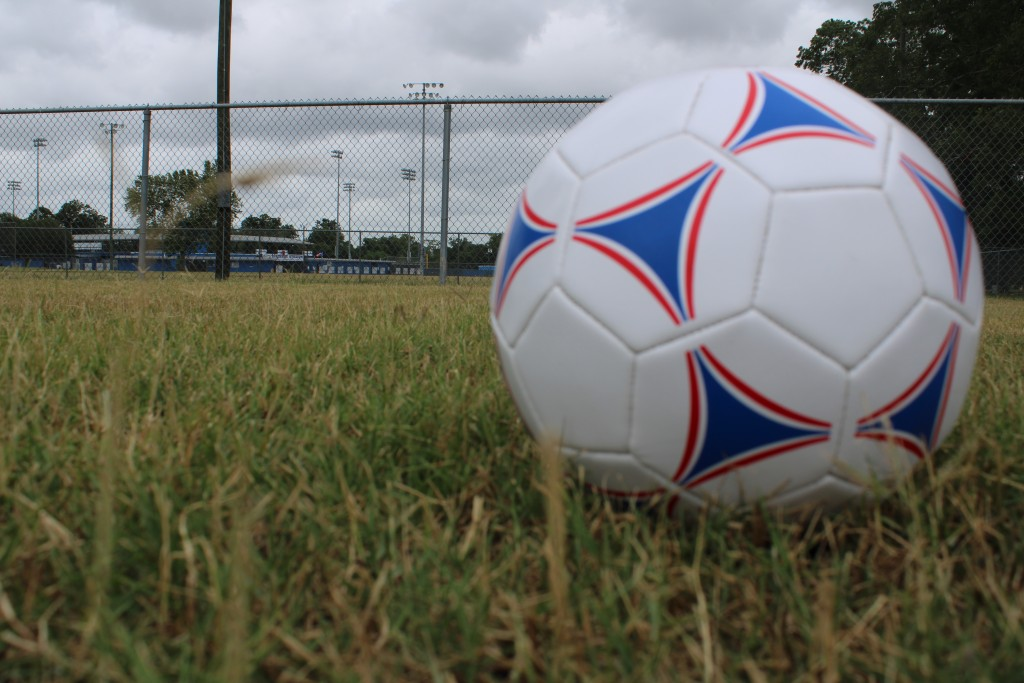 A soccer ball sits on the grass at Rippamonti Field in Riverside Park.