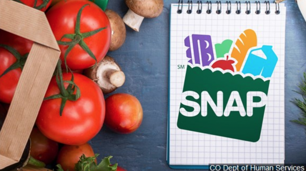 Brown paper bag of groceries sitting next to SNAP food benefits graphic