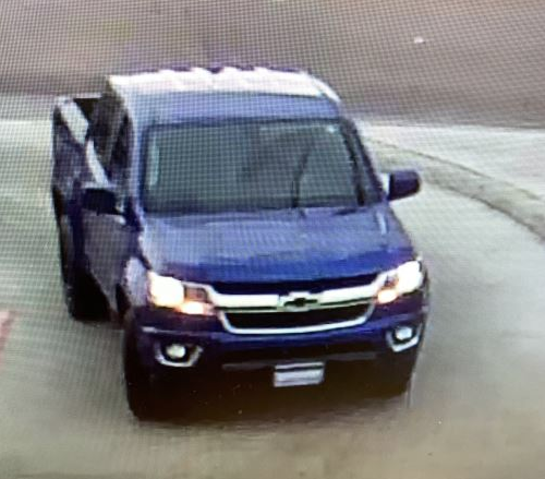 Surveillance footage of blue Chevrolet Colorado driven by woman who left puppy tied to golf cart