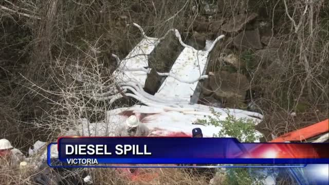 Cleanup Of Red Diesel Spill Continues On Old Goliad Road