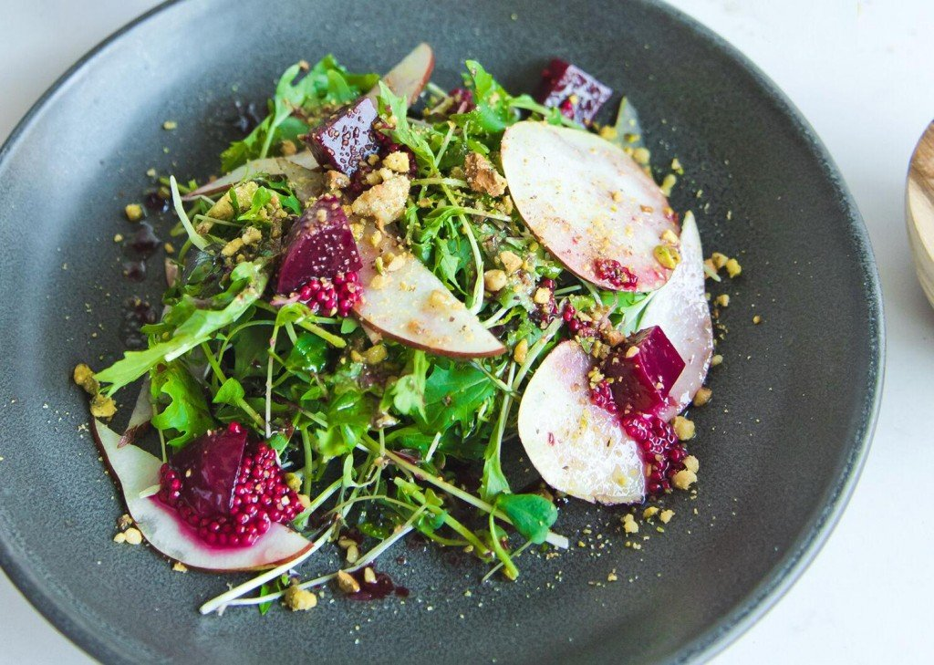 Microgreens With Red Wine Beets & Red Pears