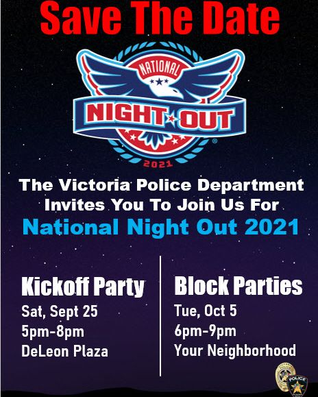 Victoria Police Department invites you to National Night Out Kick Off Party