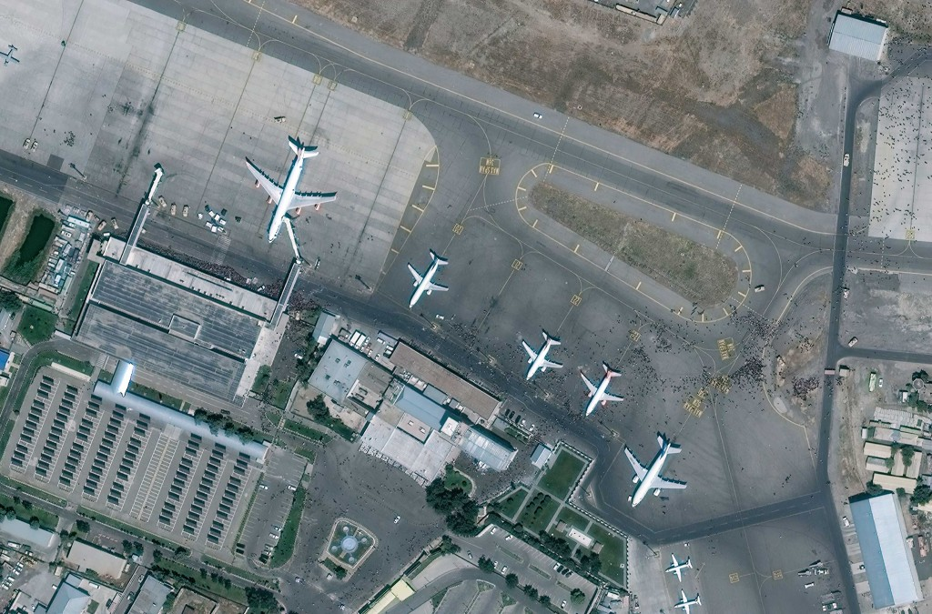Maxar Satellite Imagery Of The Tarmac At Hamid Karzai International Airport In Afghanistan. Please Use: Satellite Image (c) 2021 Maxar Technologies.