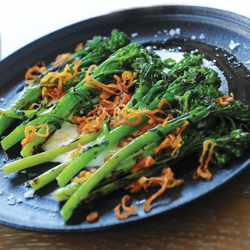 Veg Forward: Grilled broccolini with buttermilk and crispy shallots