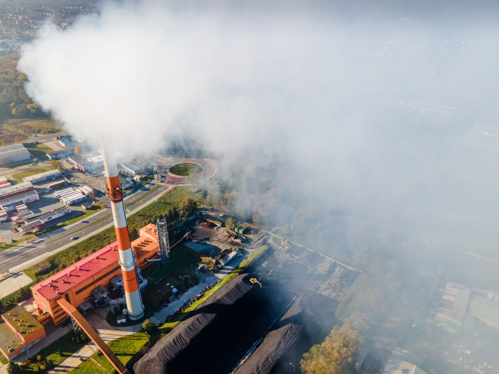 Coal Plant Smoke From The Chimney. Ecological Pollution. Aerial