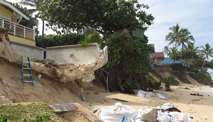 Beach erosion at Sunset Beach on Oahu's North Shore. Photo: Courtesy of Cliff Fletcher
