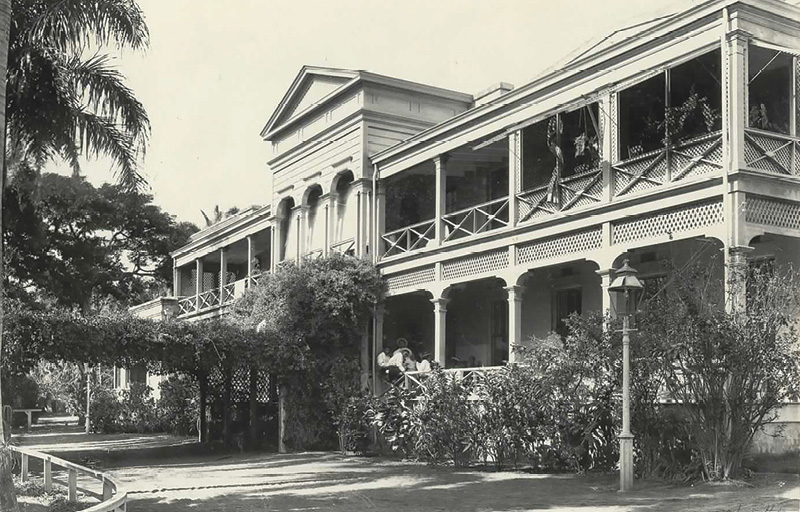 This picture, taken in 1898, shows the orginal Queen's hospital, built on the same site where the medical center stands today. The building was made of coral blocks and California redwood, and housed 124 beds.