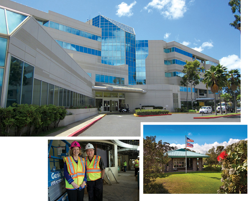 The Queen's Medical Center - West Oahu, which opened in May 2014 after a complete renovation, is the only hospital serving the growing population of Leeward Oahu. Susan Murray, at right with Art Ushijima, was hired away from Kaiser Permanente to lead the hospital. Far right is North Hawaii Community Hospital in Waimea on Hawaii Island, which was considering bankruptcy before being rescued by Queen's.