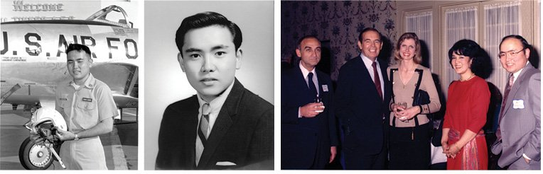 Art Ushijima as a ROTC cadet at Tinker Air Force Base in Oklahoma in 1970, as a 1966 graduate of Baldwin High School on Maui, and with his wife, Ruth, and Dr. Christiaan Barnard, the world's first heart-transplant surgeon. Barnard is second from left, flanked by Dr. David Sokol, chief of cardiac surgery at Akron General Medical Center and his wife, Christine Sokol.