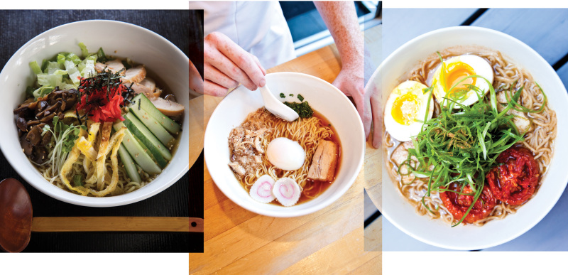 Sun Noodle creates custom noodles for its clients in Hawaii, Los Angeles and New York City. Here are ramen dishes from just three of the restaurants supplied by Sun. Clockwise from top left: Menchanko Tei on Keeaumoku Street in Honolulu, a Momofuku restaurant in New York City, and Ivan Ramen in New York City. Photo on left: Olivier Koning. At right, Harold Julian