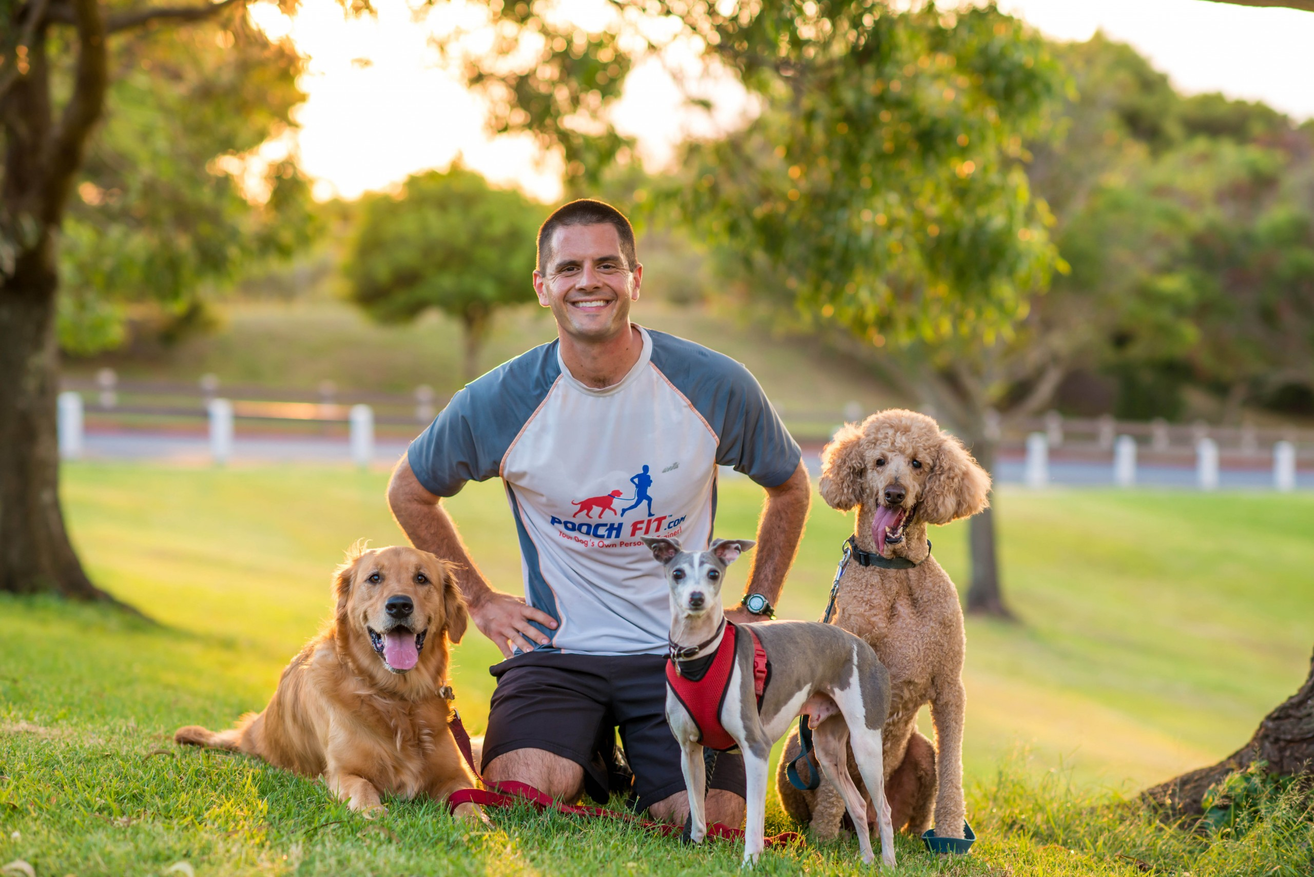 Dustin Metzler with, from left, Jewels, Thomas and Rufus. Photo: Courtesy Angela Nelson Photography