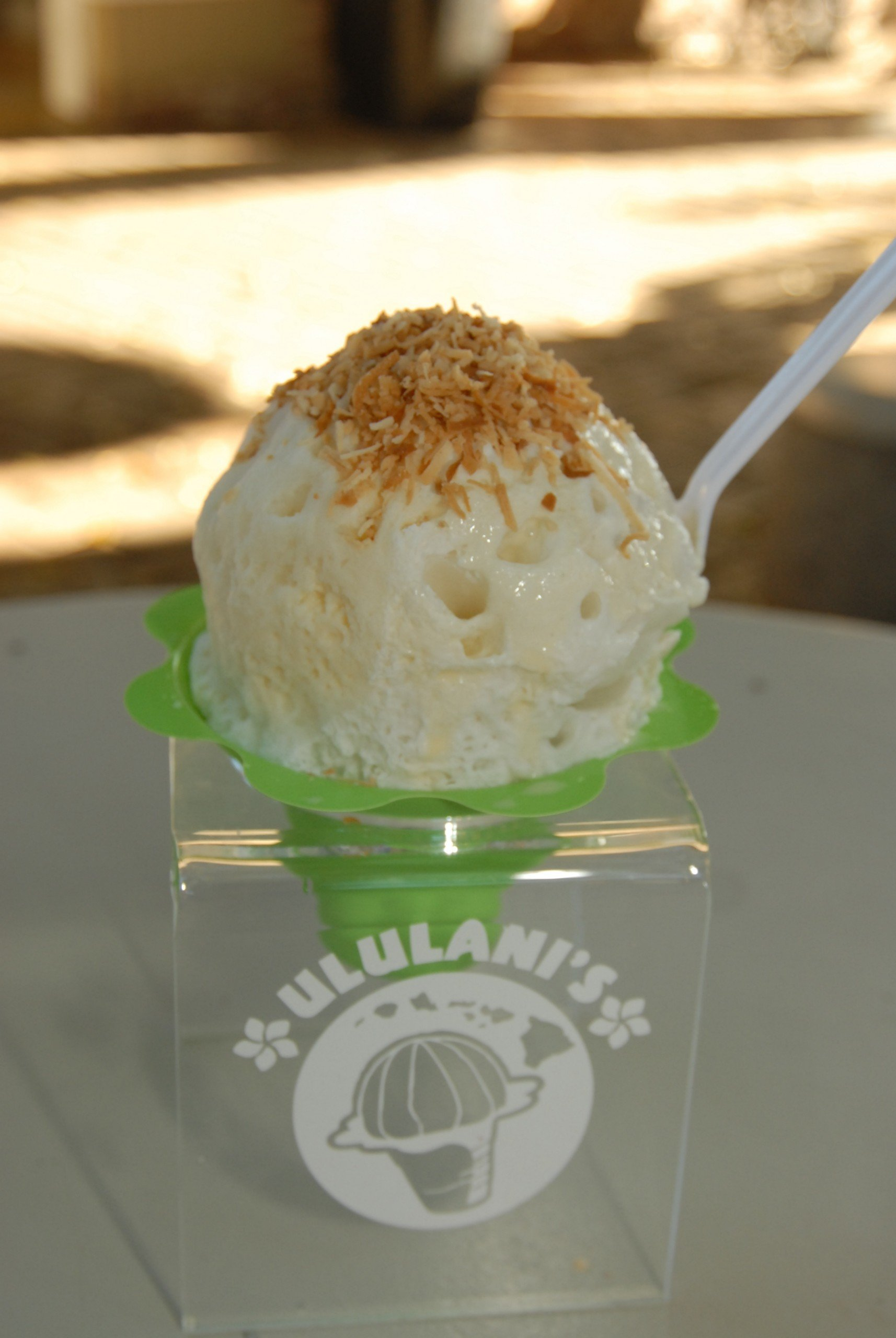 """Most popular """"Haleakala"""" consists of coconut & leche topped with our """"snow cap"""" and toasted coconut. photo: Courtesy Angela Nelson Photography"""