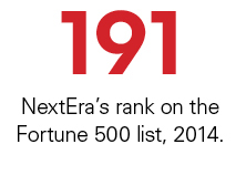 191 NextEra's rank on the Fortune 500 list, 2014