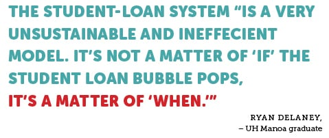 """THE STUDENT-LOAN SYSTEM """"IS A VERY UNSUSTAINABLE AND INEFFECIENT MODEL. IT'S NOT A MATTER OF 'IF' THE STUDENT LOAN BUBBLE POPS, IT'S A MATTER OF 'WHEN.'"""" RYAN DELANEY, – UH Manoa graduate"""