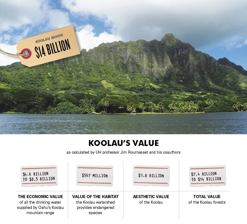 Koolau's Value as calculated by UH professor Jim Roumasset and his coauthors. $4.6 billion to $8.5 billion: The economic value of all the drinking water supplied by Oahu's Koolau mountain range. $567 million: Value of the habitat the Koolau watershed provides endangered species. $1.8 billion: Aesthetic value of the Koolau. $7.4 billion to $14 billion: Total value of the Koolau forests