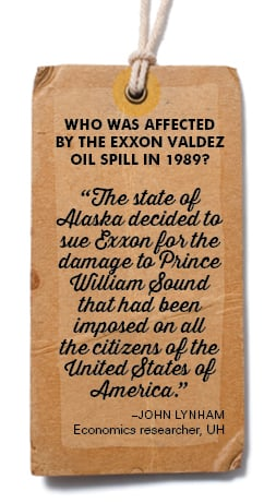 """Who was affected by the Exxon Valdez oil spill in 1989? """"The state of Alaska decided to sue Exxon for the damage to Prince William Sound that had been imposed on all the citizens of the United States of America."""" –John Lynham Economics researcher, UH"""