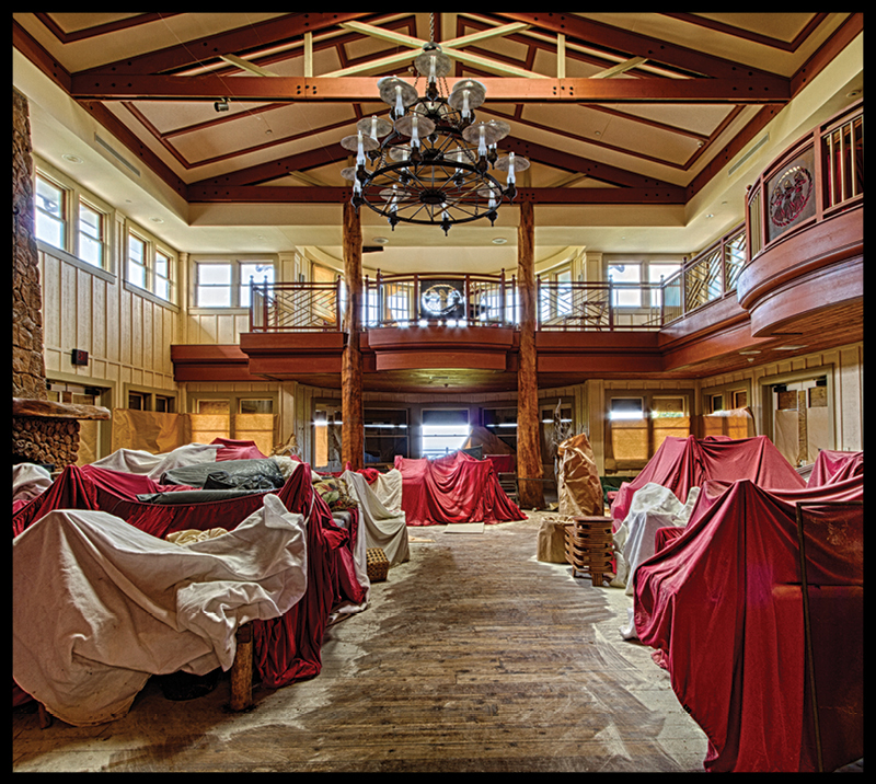 The interior of the former upscale boutique hunting lodge, the Lodge at Molokai Ranch, on the western side of Molokai. In 2008, after real estate values plunged nationwide, the ranch, owned by a Singaporean corporation, shuttered the lodge, leaving most of the furnishings inside. The ranch – then the largest private employer on the island – shut all its operations and put more than 120 people out of work. Photo: PF Bentley
