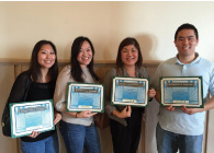"First Insurance Co. of Hawaii held a Biggest Loser-style contest for its employees called ""Bumboocha Loser."" Maggie Hayes, top left in the top photo, was the overall winner and the others were part of the winning team. They are, from left, Laura Kisaka, Dustin Fukata, Allison Takamoto and June Fong. Other pictures show them on a hike and with their Bumboocha awards."