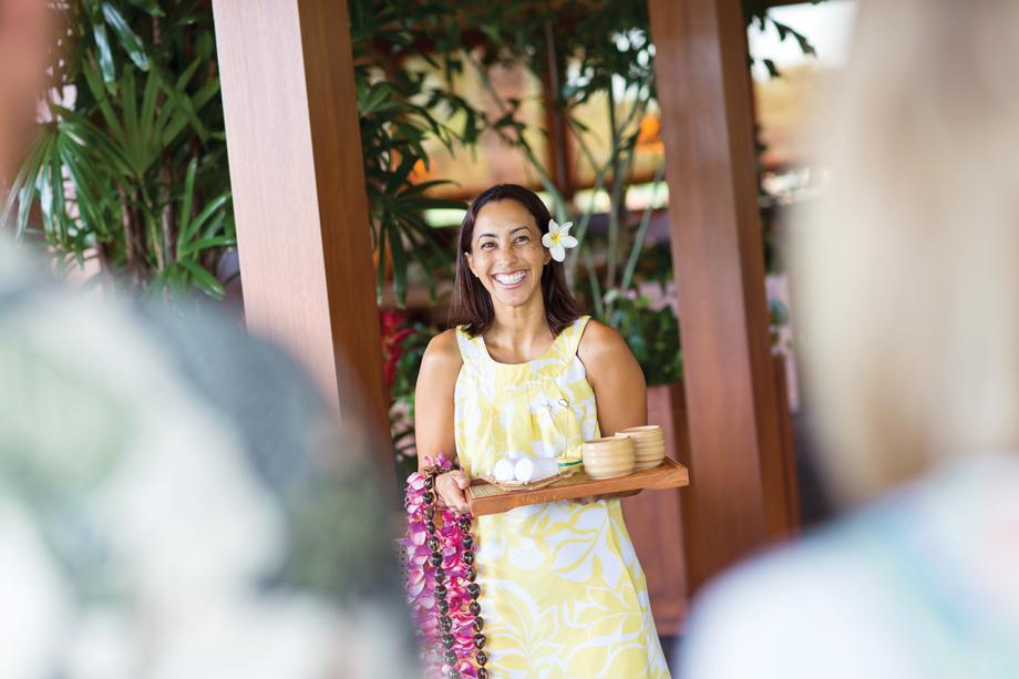 Melissa Bois greets guests. Photo: Joshua Fletcher