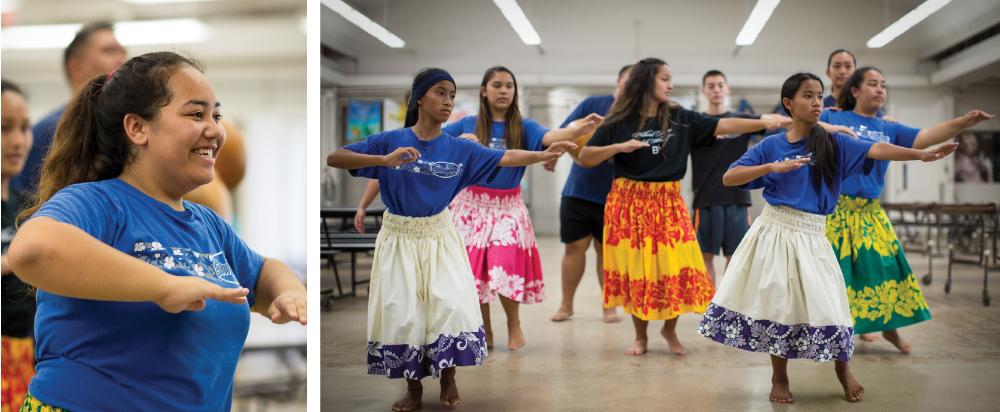 Mentors from Kula No Na Poe Hawaii, a nonprofit serving nearby Hawaiian Homestead communities, teach hula to students at Stevenson Middle School. Photo: Sean Marrs
