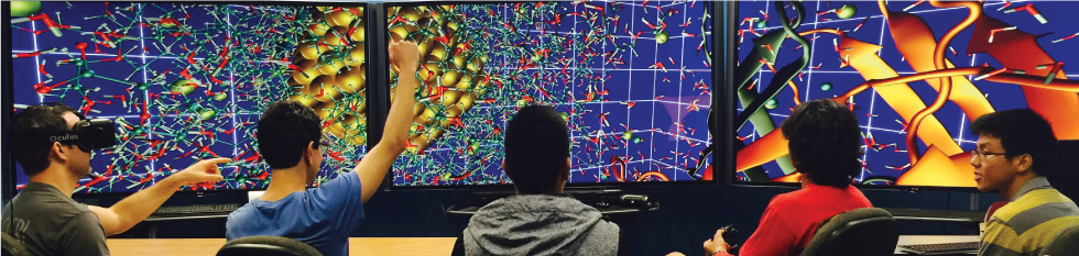 Students navigate through a 3D chemistry simulation on the CyberCANOE.