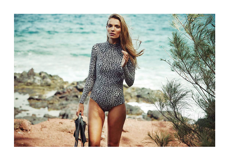 A popular new style in swimwear is the long-sleeved, one-piece suit. Shown is the Snow Leopard version of the Ehukai body suit from Acacia Swimwear, coming next year. Photo: Courtesy of ACACIA Swimwear