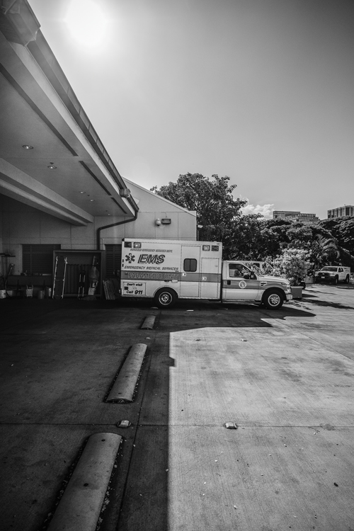 The ambulance bay at Queen's Hospital in Honolulu. Photo: Aaron Yoshino