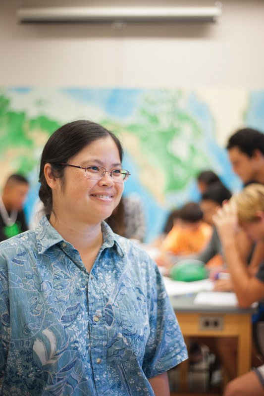 """""""One predictor of whether women will continue in science is whether they have strong female mentors,"""" says Anna Liem, head of the high school science department at Punahou School. Those mentors include teachers, professors and professionals. Photo: Elyse Butler"""