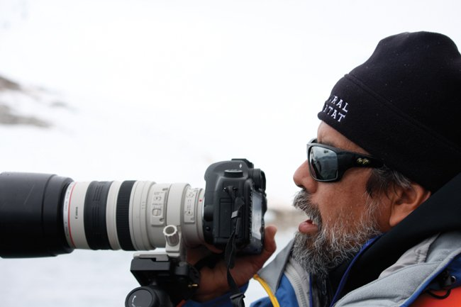 Rogers, an avid photographer, during a family vacation in Antarctica. Photo: Courtesy of Henk Rogers