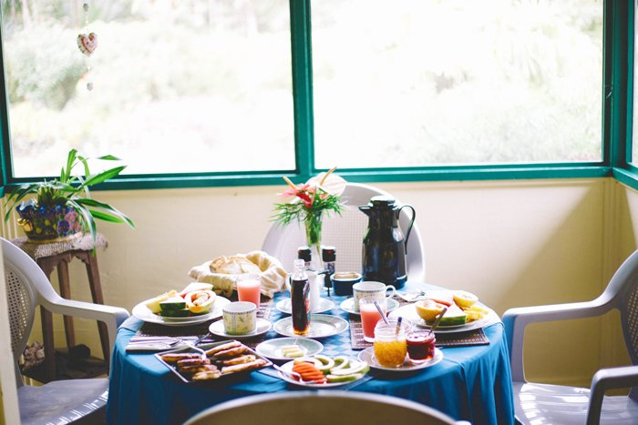 Tropical Storm Iselle left the Hale Moana Bed and Breakfast without electricity or running water for nine days. Now things are back to normal, which includes breakfasts of banana pancakes, Kona coffee and fresh fruit grown in the garden. Photo: Ciara Enriquez