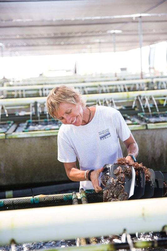 """Cecilia Viljoen finds that a woman's touch is often what's needed in her field. As nursery R&D director at Big Island Abalone in Kona, she must ensure the abalone's high quality for worldwide export. """"Women make sure things don't fall through the cracks on the way to achieving the goal. When it comes to raising and packing abalone, women have a finer, gentler touch."""" Photo: Joshua Fletcher"""