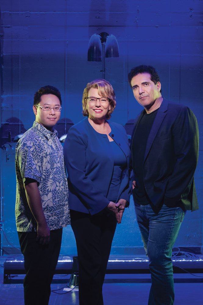 The Creative Lab's guiders and mentors include, from left, Timothy Tiu, Georja Skinner and Michael Palmieri. Photo: Tommy Shih