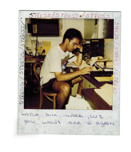 This Polaroid picture was taken in the first office of Room Service in Paradise, a bedroom in a house near Kailua Beach. Employees added their comments around the edges. Photo: Courtesy of Noel Nedli.