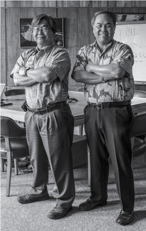 The Honolulu Board of Water Supply has led criticism of the Navy's handling of the Red Hill leak, and, in particular, Ernest Lau, left, manager and chief engineer at the water board, and Erwin Kawata, program administrator for the board's Water Quality Division. (Photo: Aaron Yoshino)