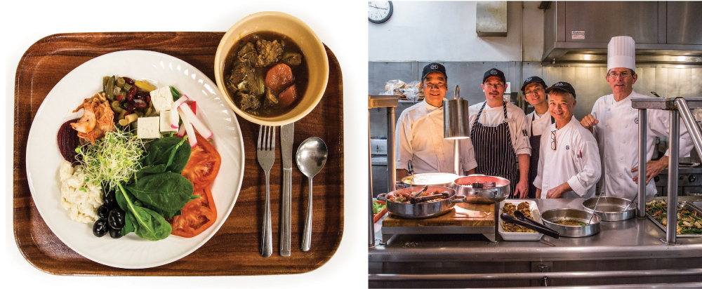 (left) A custom-made salad plus beef stew.(right) Daniel Delbrel (far right), Director of Culinary for the Sheraton, and the Mokihana crew. Photography: David Croxford.
