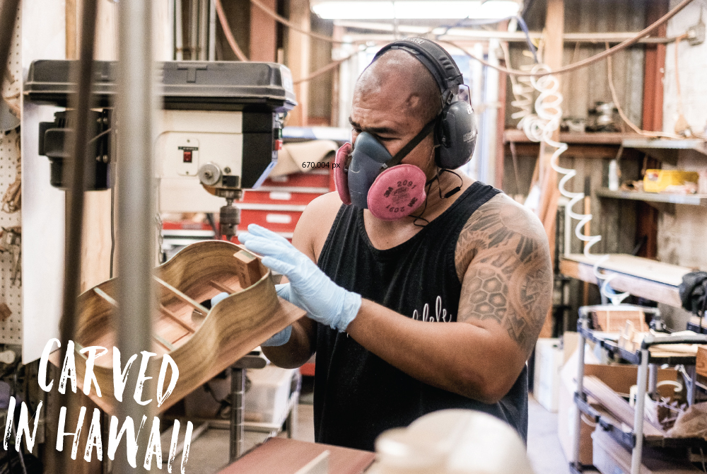Craftsman Dennis Hermano builds an ukulele at KeAloha Ukulele. Owner Alan Okami says the company's local values are an essential element of the instruments they produce. Aaron K. Yoshino