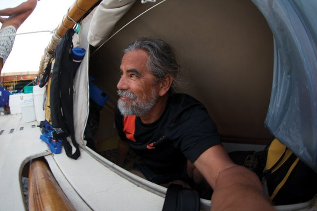 Henk Rogers, in Bali on July 28, during his second passage aboard Hokulea. Photo: Courtesy of Henk Rogers