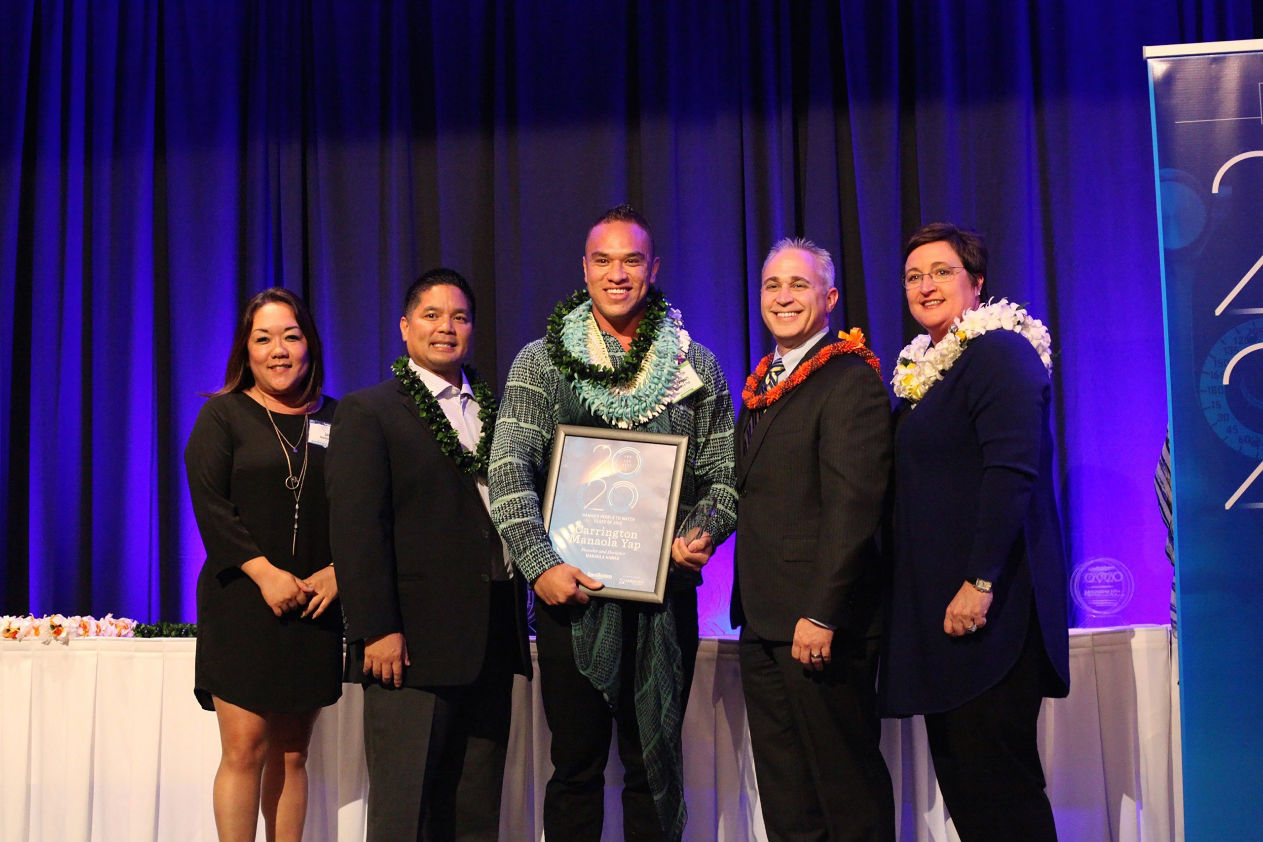 Carrington Manaola Yap in the middle of being honored as one of the 20 For the Next 20. Photo: Michelle
