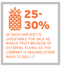 25-30% of each harvest is unsuitable for sale as whole fruit because of external flaws, so the company is seeking other ways to sell it.