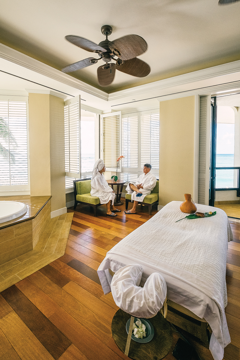 Couples can be pampered in privacy with massages and their own whirlpool bath at the Moana Lani spa overlooking Waikiki Beach. Photo: Aaron Yoshino