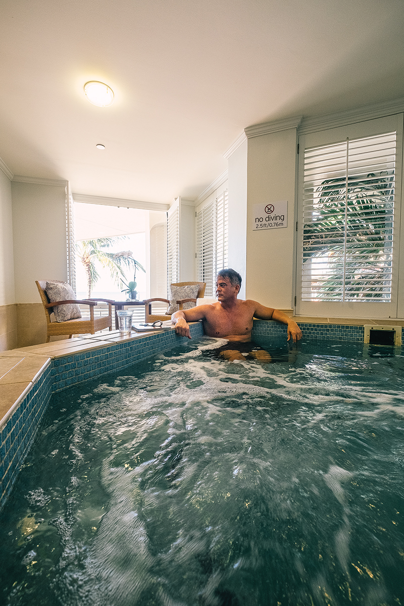 Men also have their own lounge at Moana Lani, with a whirlpool and specialized chairs in which to relax or snooze. On the day of an appointment, clients can utilize spa facilities all day. Photo: Aaron Yoshino