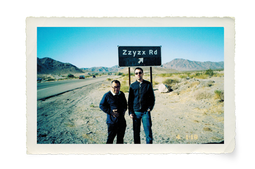 Harada and Nedli couldn't resist this street sign outside Las Vegas. Their joint ventures and friendship have taken them across the country and around the world. Photo: Courtesy of Noel Nedli.